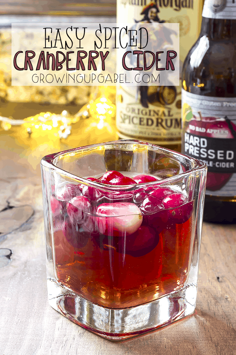 This easy spiced cranberry cider cocktail recipe uses only three ingredients - rum, cranberry juice and hard cider. Perfect for your holiday parties!