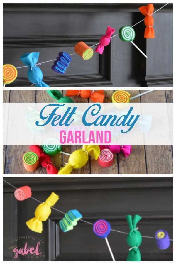 A fun DIY candy garland made with colorful felt. Perfect for Christmas, Sweet 16, Valentine's Day or any sweet occasion. Hang with string.