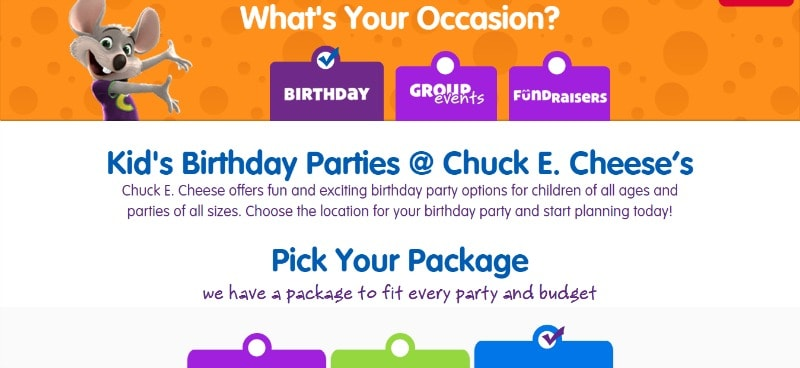 chuck e cheese party package