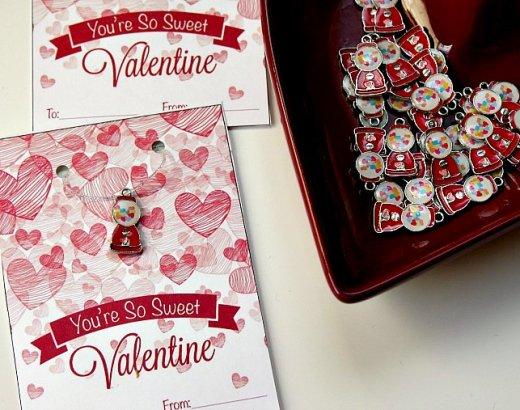 Bubblegum Necklace Kids Valentines Cards