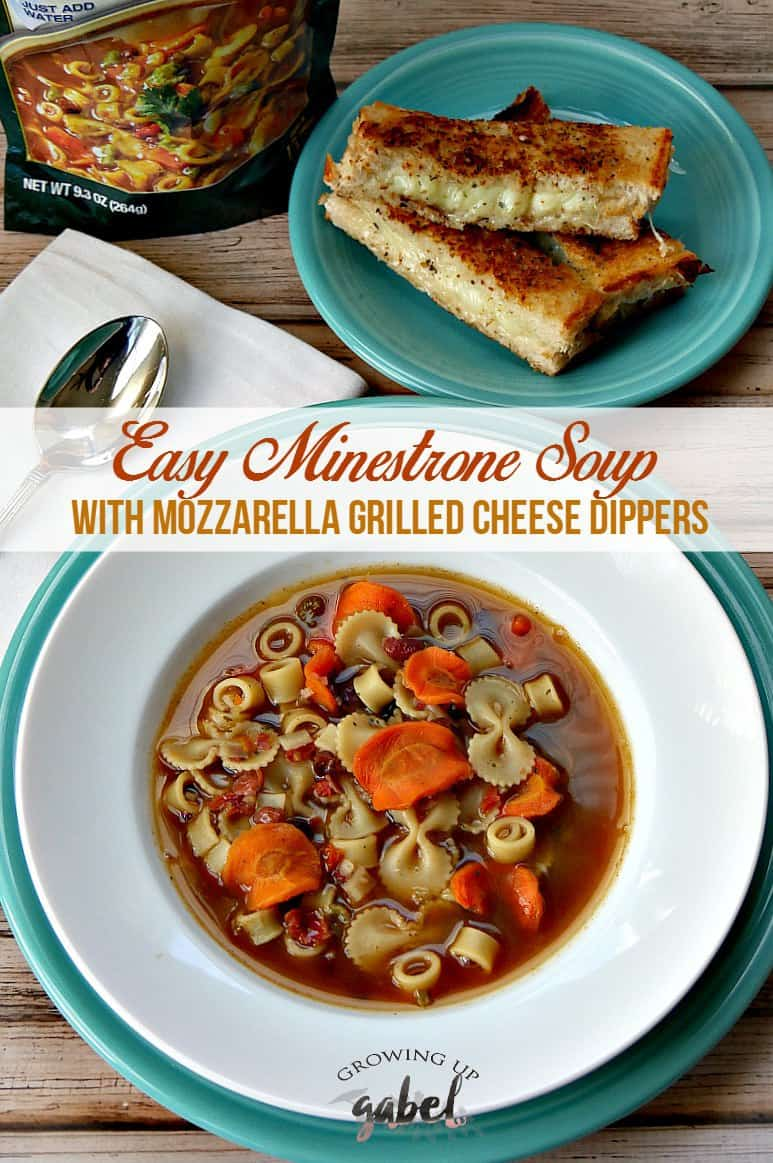 Bear Creek Country Kitchens Easy Minestrone Soup With Mozzarella Grilled Cheese Dippers