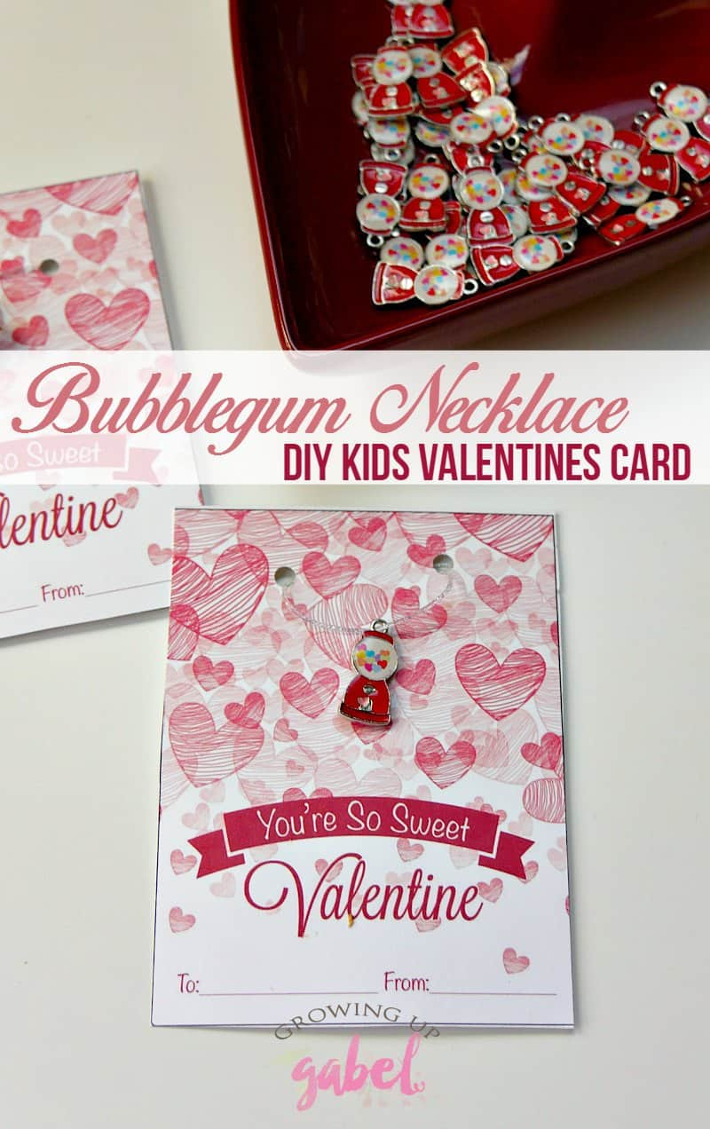 Easy DIY kids Valentines cards to make for school include a cute handmade bubblegum necklace on a printable card. No candy needed!