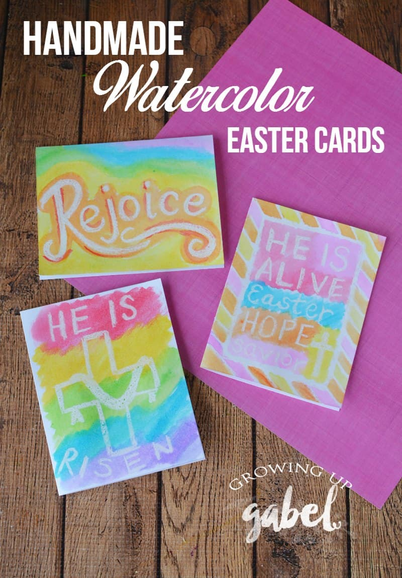 Simple handmade Easter cards are made with card stock, grease pencil and watercolor paints are great for adults and kids!