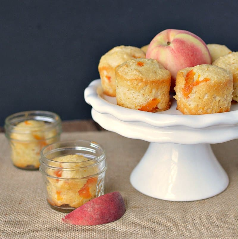 ... on the go. Or pop them out and serve as little peach bread muffins