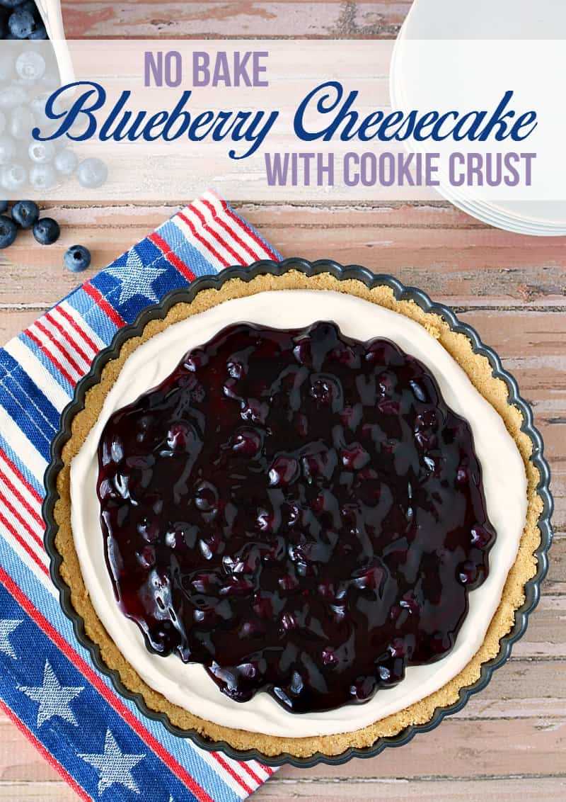 An easy no bake blueberry cheesecake recipe made with a cookie crust in either a pie or tart pan.