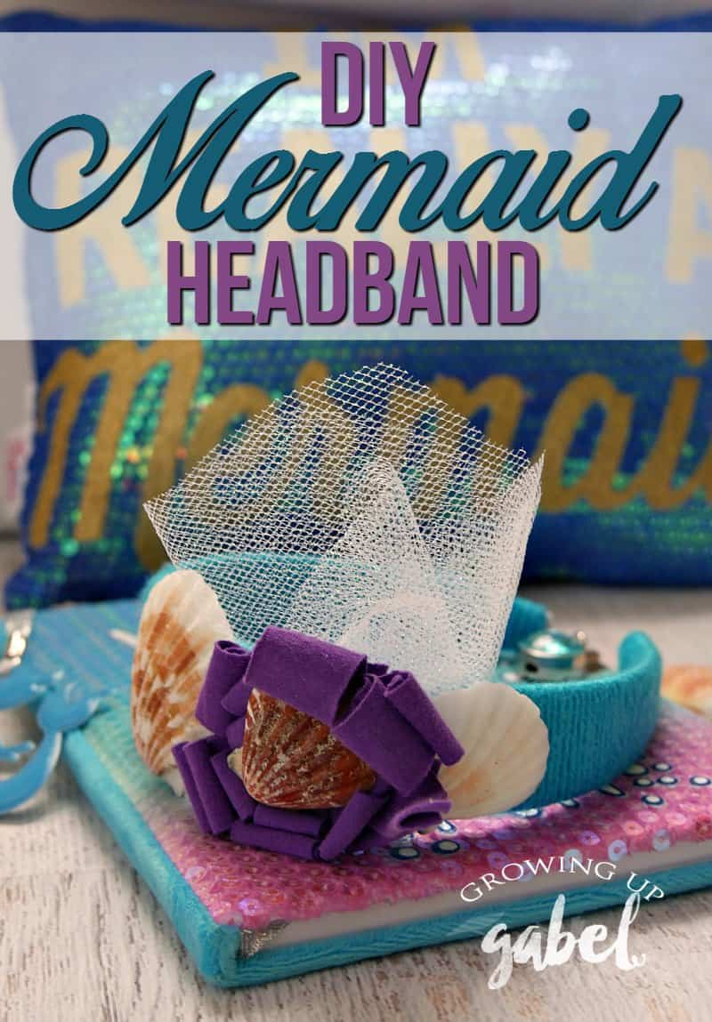 Make a DIY Mermaid Headband for Kids with seashells, yarn and other fun bling!