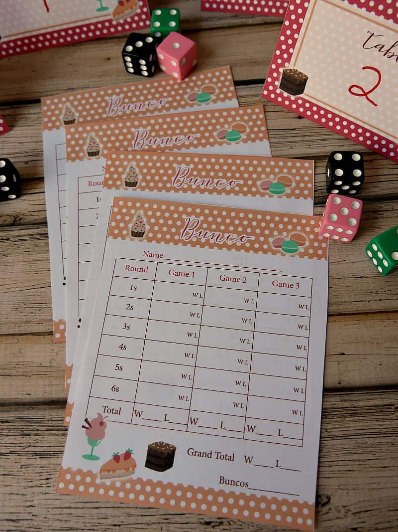 image about Cute Bunco Score Sheets Printable known as Dessert Night time Bunco Get together with Totally free Printables!
