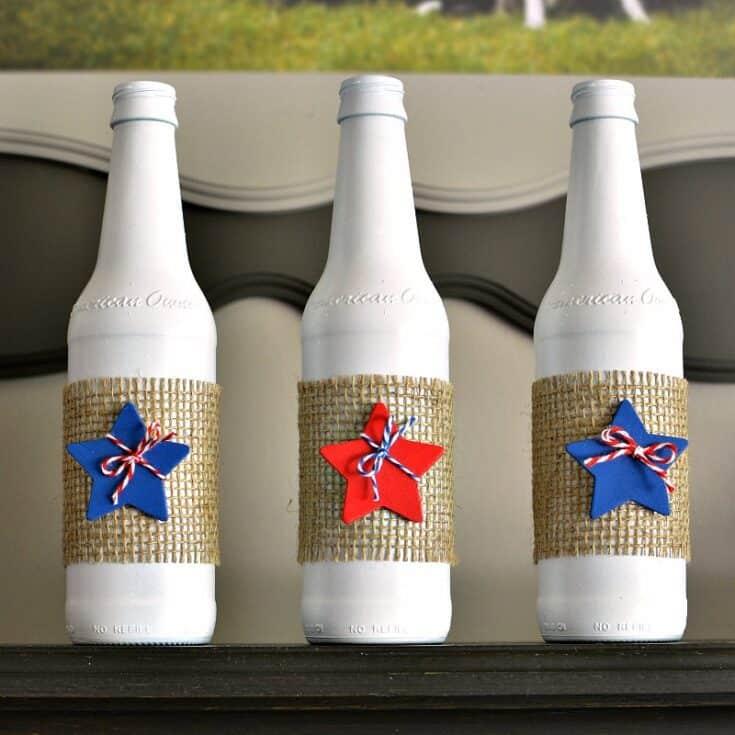 Easy DIY Patriotic Upcycled Bottles Decoration
