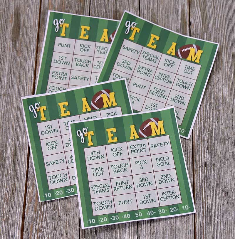 This is a photo of Resource Free Printable Football Bingo Cards