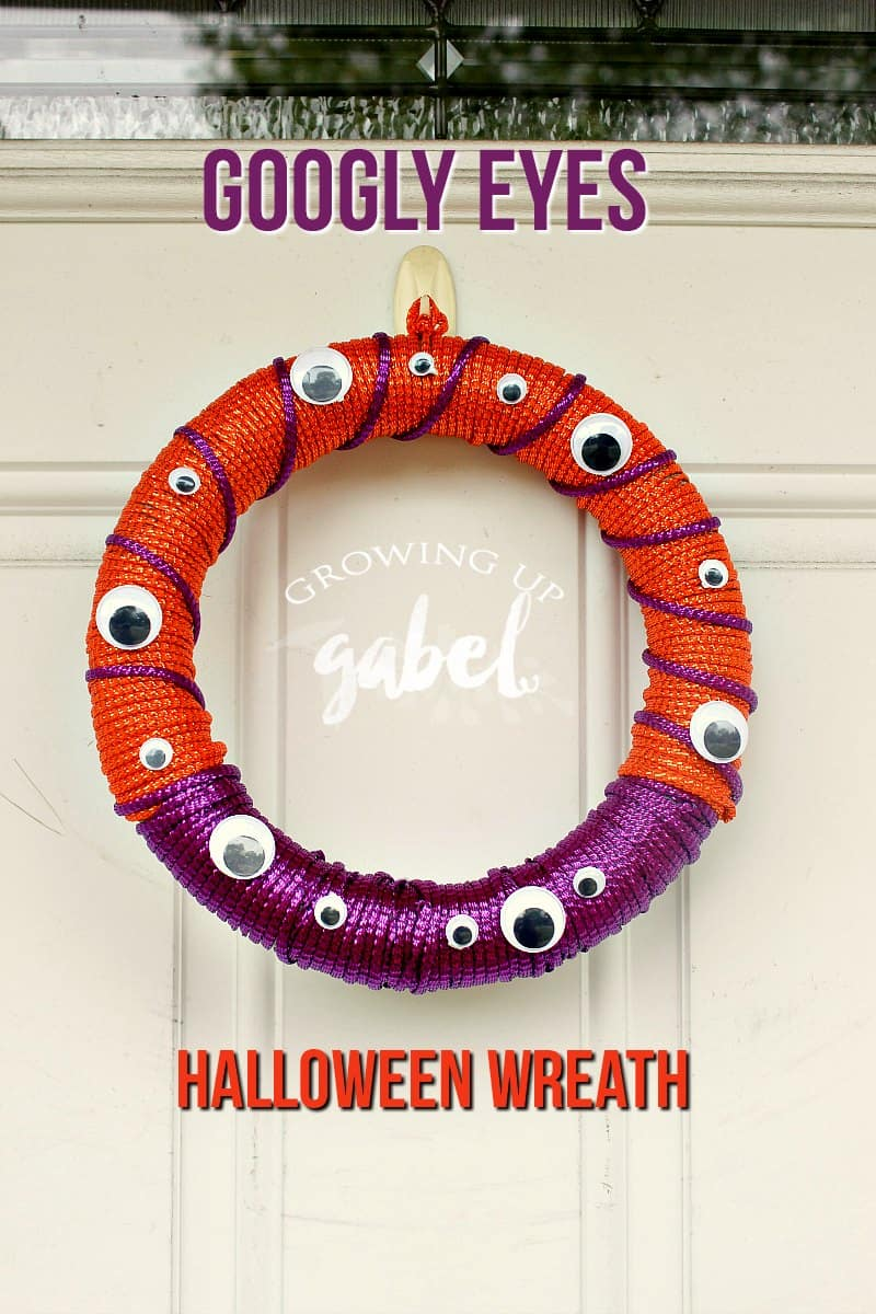 Make a cute googly eyes craft with this easy DIY Halloween wreath idea for your front door!