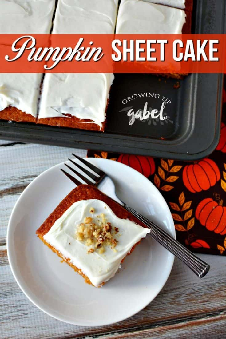 Make this pumpkin sheet cake with only one bowl! Just mix ingredients, pour and bake. Top with homemade cream cheese frosting.