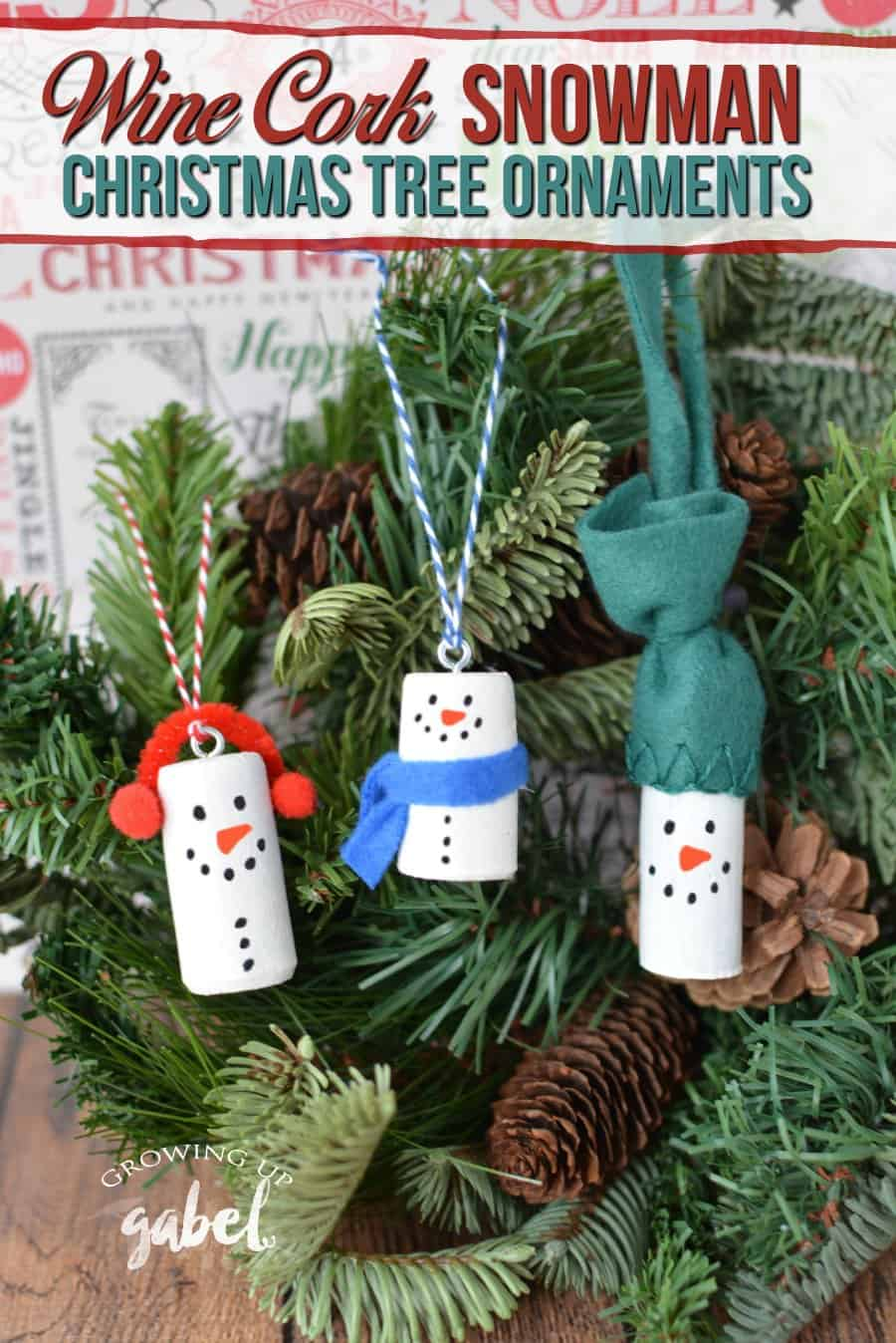 make diy wine cork snowman christmas tree ornaments using old wine corks three variations on