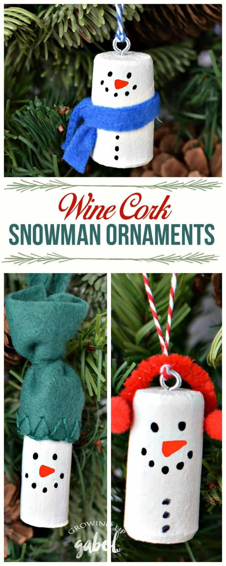 Turn wine corks into snowman ornaments for your Christmas tree. #ChristmasOrnaments #WineCorks #SnowmanOrnaments #WineCorkCrafts #ChristmasCrafts