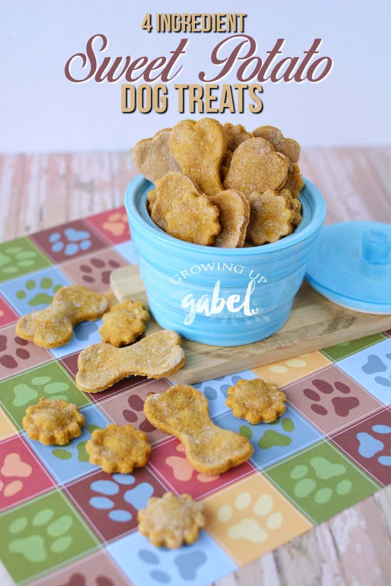 CLICK here to make baked homemade sweet potato dog treats with just 4 ingredients! Easy to make and peanut butter free! #dog #sweetpotato