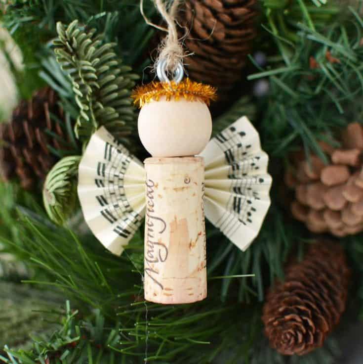 DIY Wine Cork Angel Christmas Ornaments