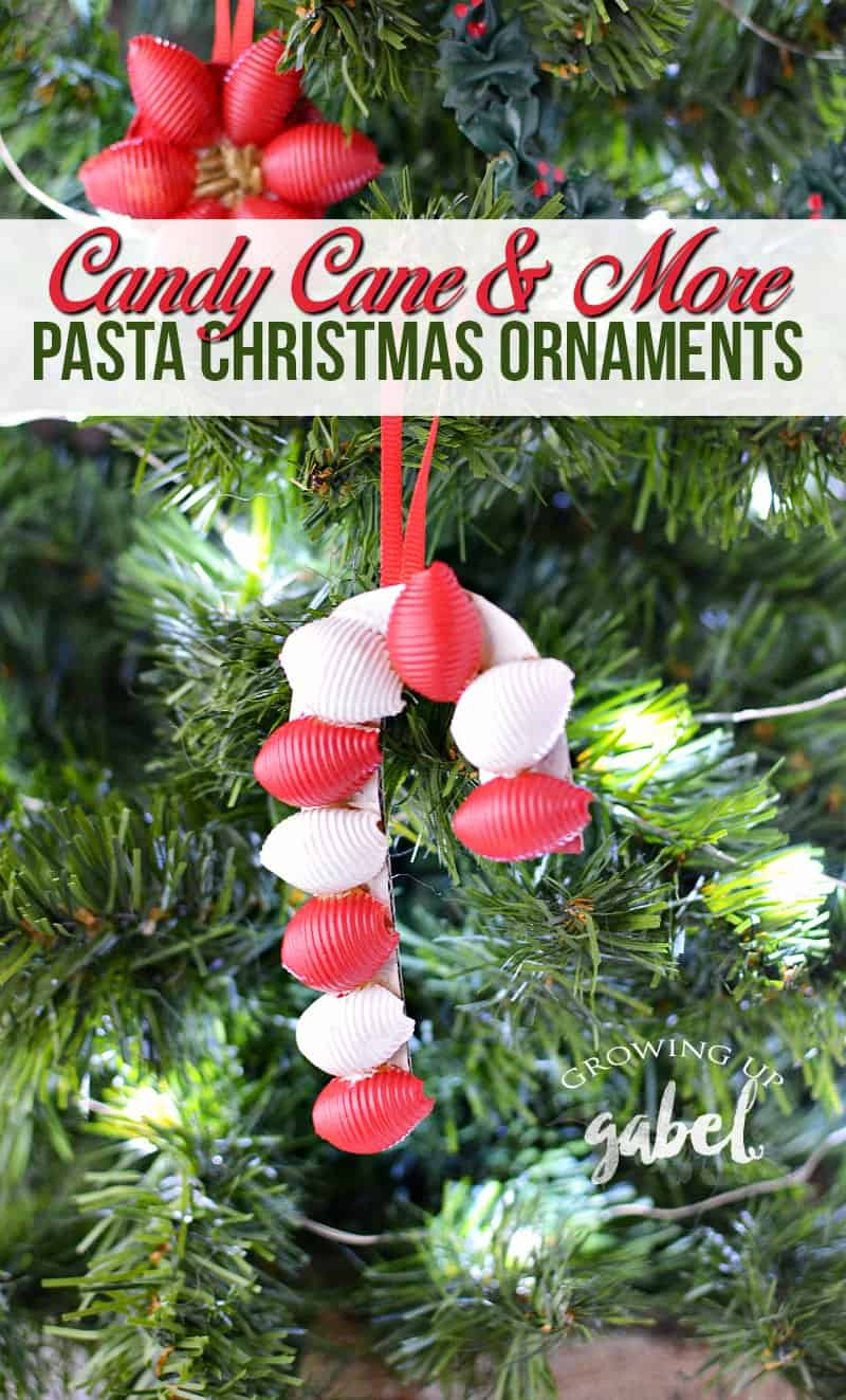 Make an easy DIY Candy Cane Pasta Christmas Ornament with our easy tutorial! Just use pasta, glue, cardboard and paint! Great for kids to make for the Christmas tree or as gift tags. #ChristmasCraftsforKids #DIYChristmasOrnaments #ChristmasCrafts