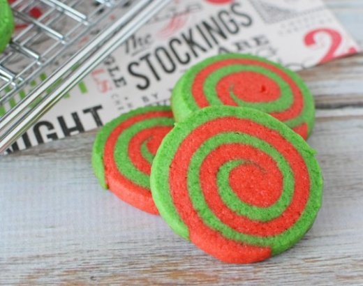 Red and Green Christmas Pinwheel Cookies