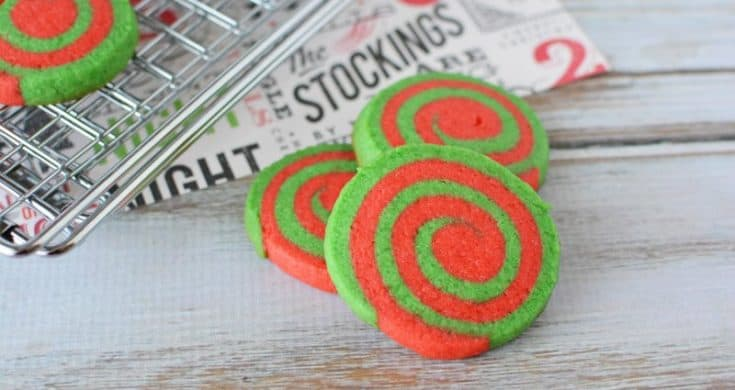 Green and Red Pinwheel Cookies