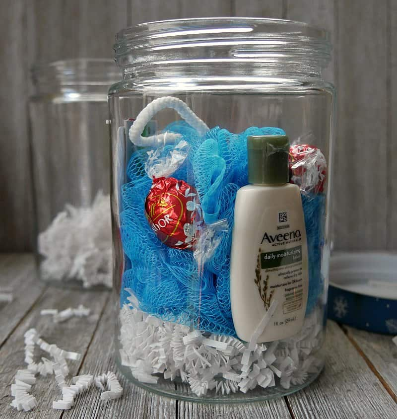Fold the gift card holder in thirds so just the cards shows. Tuck it in to the side of the jar so itu0027s visible from the outside. & Easy Spa in a Jar Gift Idea