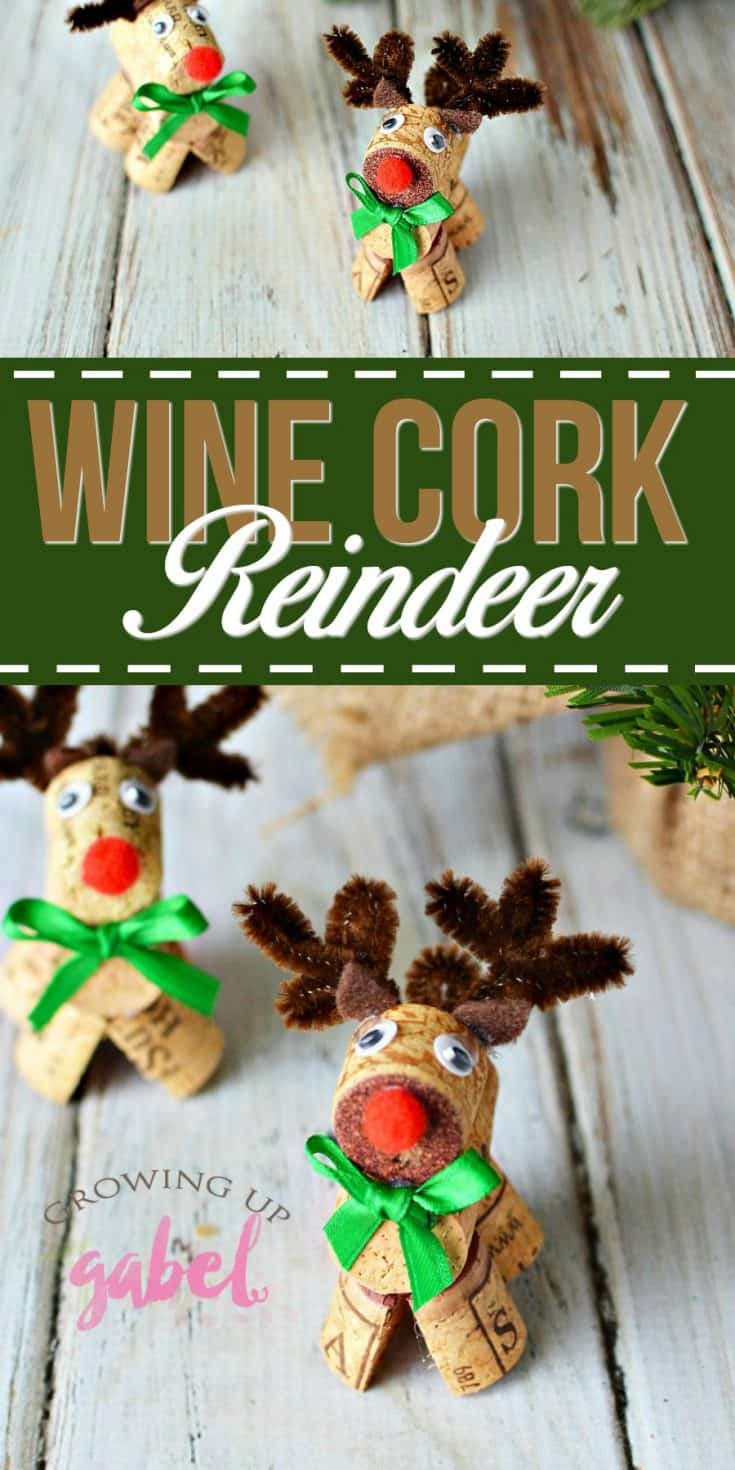 Make wine cork reindeer with a few simple craft supplies and used (or new) wine corks!