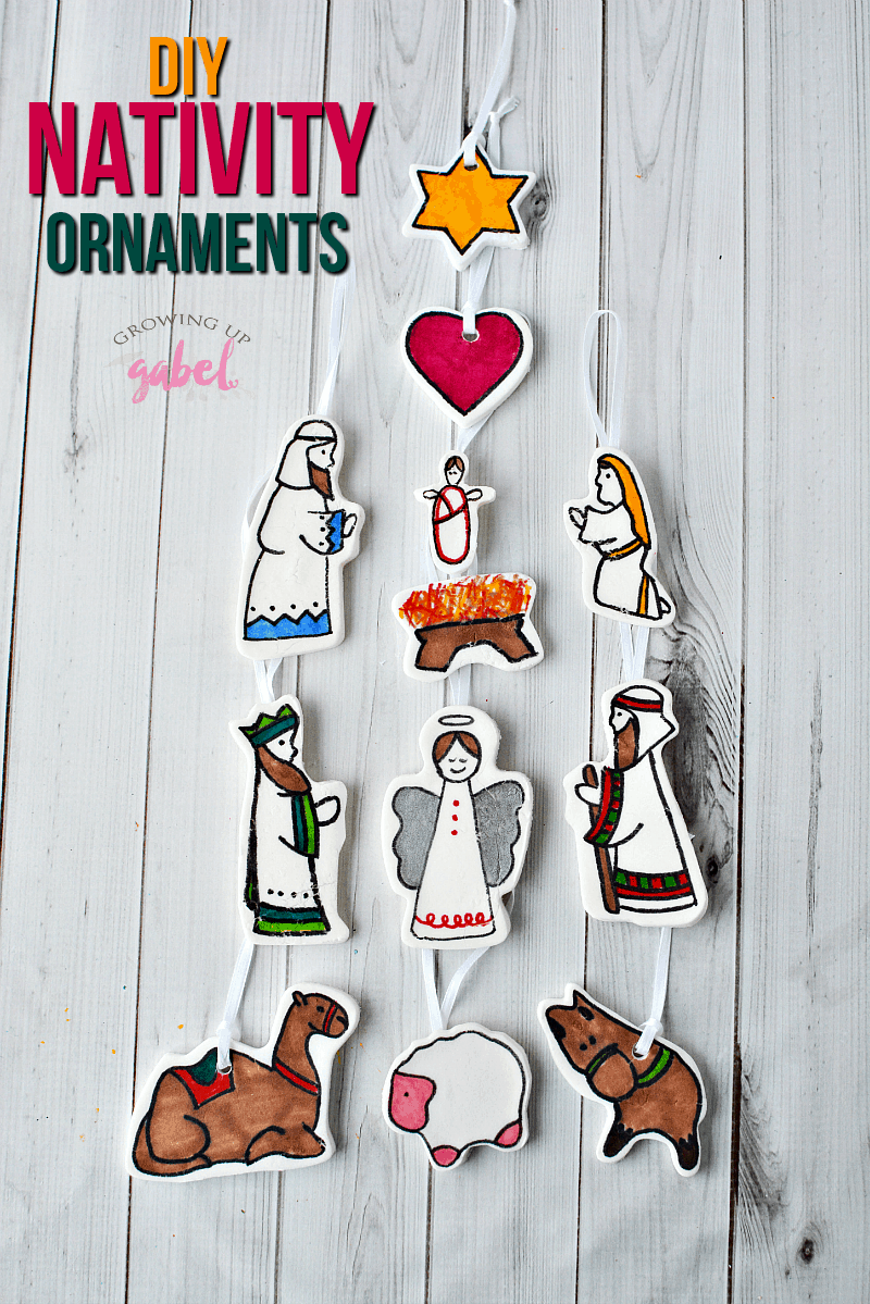 Looking for fun Christmas ornament crafts for kids? Check out these DIY nativity ornaments to make with baking soda dough, cookie cutters, and markers.
