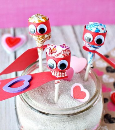 Lollipop Superhero Valentines Day Cards for Kids