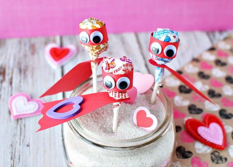 Lollipop Superhero Valentines Day Cards For Kids