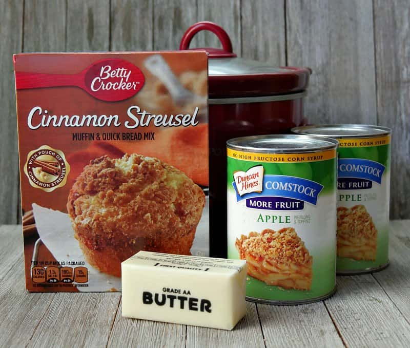 3 Ingredient Crock Pot Apple Cobbler With Muffin Mix