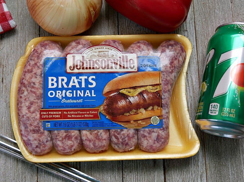A package of Johnsonville original brats