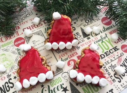 Santa Hat Cinnamon Rolls for Christmas