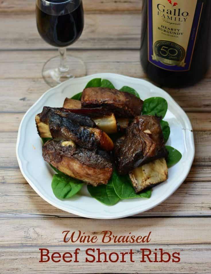 Wine Braised Slow Cooker Beef Short Ribs