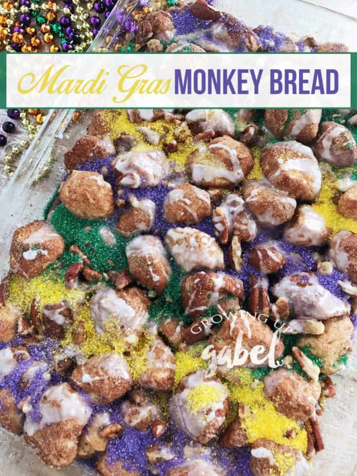 Celebrate mardi gras with a colorful monkey bread King Cake made with homemade or canned biscuit dough, pecans, and colored sugar icing.