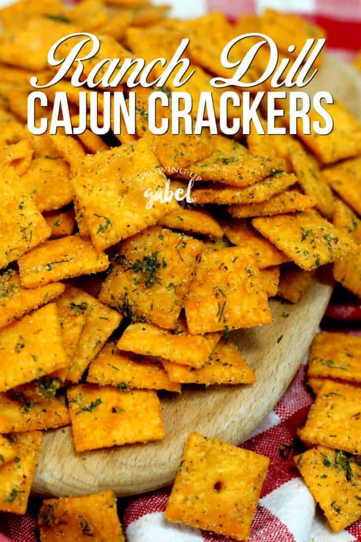 Make easy dill ranch cajun crackers with cheese crackers, ranch dressing mix, dill and cajun seasoning. Ready in just 15 minutes!