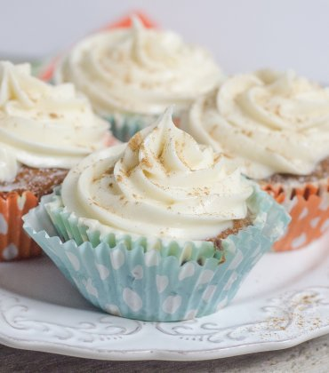 Homemade Carrot Cake Cupcakes with Cream Cheese Frosting