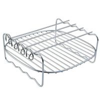 Air Fryer Rack, Bantoye Multi-purpose Double Layer Air Fryer Rack with Skewers, Fits Most 3.7QT – 5.8QT