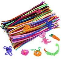 Caydo 200 Pcs Random Colors Pipe Cleaners Chenille Stem 6 mm x 12 Inch, Smooth Processing at Both Ends, Safe and Humanized Design