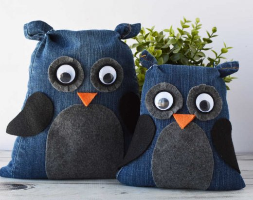 No Sew Denim Owls from Old Jeans