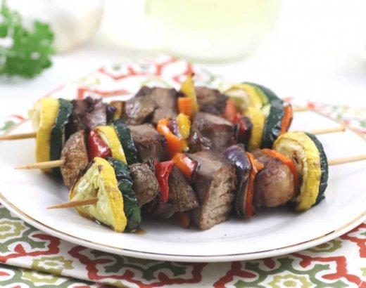 Air Fryer Steak and Vegetable Kebabs