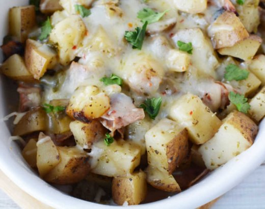 Spicy Slow Cooker Ham and Potatoes with Cheese