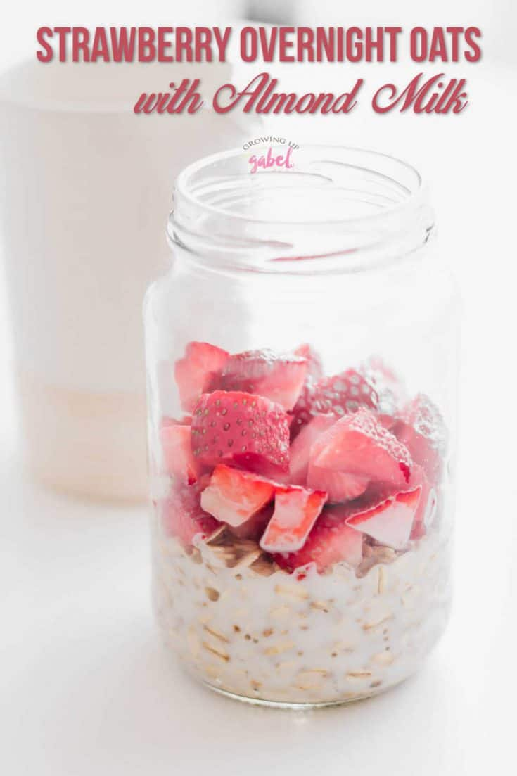 Make a jar of strawberry vanilla overnight oats with almond milk for busy mornings. Just mix up rolled oats the night before, refrigerate, and eat in the morning.