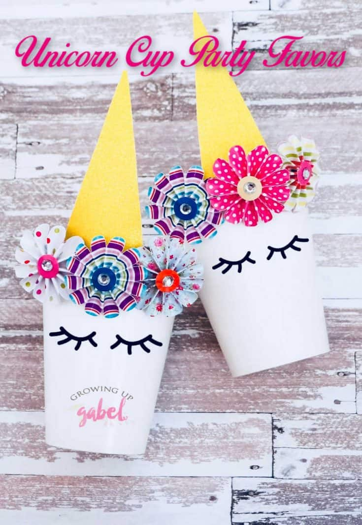 Make unicorn party favors with paper cups, glitter paper and glue. Then just fill with candy or other small treats.