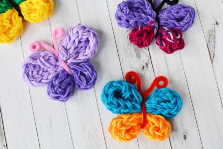 Fun Finger Knitting Butterfly