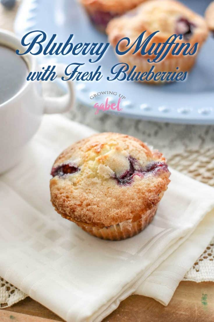 Moist blueberry muffins made with fresh blueberries and buttermilk are easy to make from scratch. Perfect for a weekday morning or brunch! #muffins #muffinrecipe #blueberrymuffins #brunchrecipe