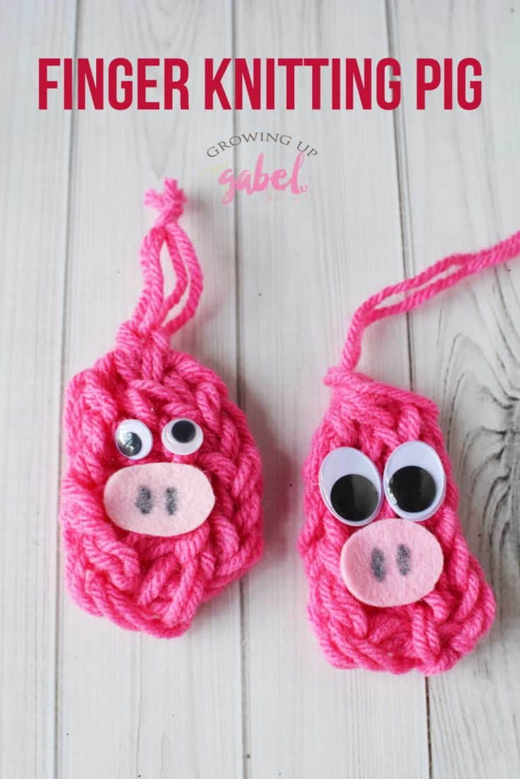 An easy finger knitting pattern to make a finger knit pig. Just use yarn, felt and googly eyes to make this cuter finger knit farm animal. #fingerknitting #fingerknit #yarncraft #fingerknitpattern