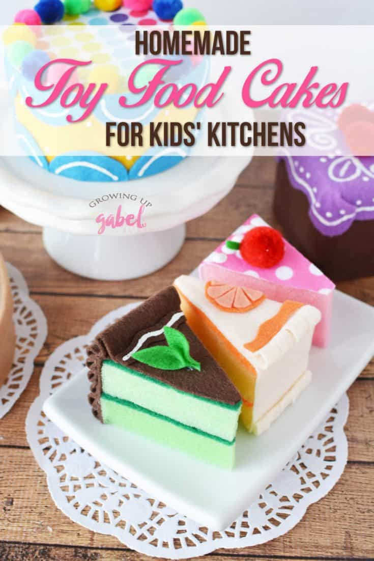 Use a kitchen sponge and felt to make 4 different flavors of toy food cake slices.