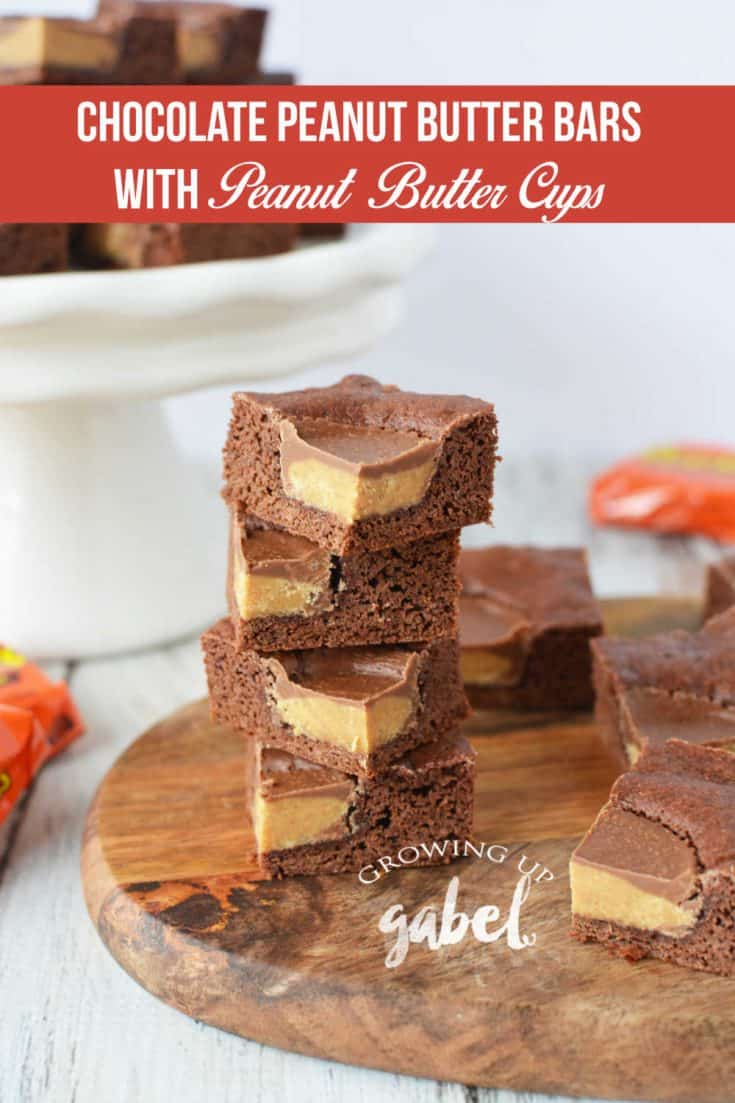 These chocolate peanut butter bars are dense and chewy and delicious and are easy to make using a cake mix and powdered peanut butter. Top with peanut butter cup candy and baked, these are like peanut butter cup brownies!