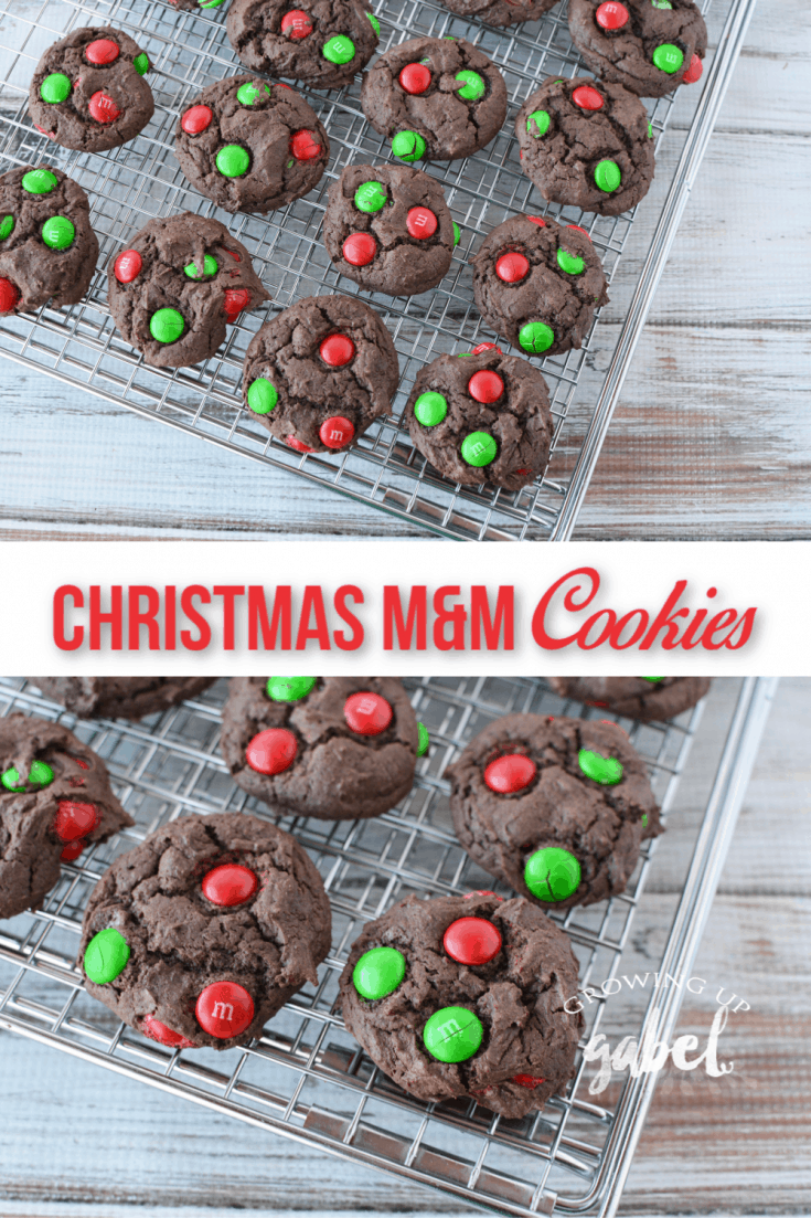Make easy Christmas cookies with a chocolate cake mix and Christmas M&M candies in under 30 minutes.