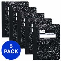 Mead Composition Books, Notebooks, Wide Ruled Paper, 100 Sheets, Comp Book, 5 Pack (72368)