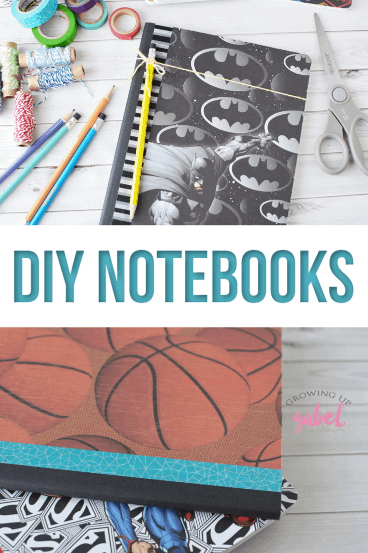 Learn how to make a DIY notebook cover using scrapbook paper and a composition notebook. Let your kids really express their personalities by choosing a fun scrapbook paper with their favorite hobby, sports team, color, or move character. Match that up with a printed or glitter washi tape for the binding and add a colored pencil to match.