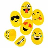 Rhode Island Novelty 2.5 Inch Emoji Face Plastic Easter Eggs Pack of 12